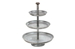 Grey 22 Inch Galvanized 3 Tier Cake Stand