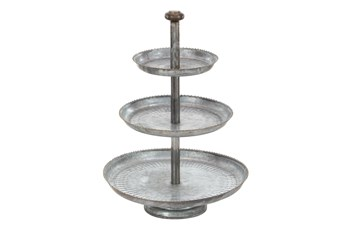 Grey 22 Inch Galvanized 3 Tier Cake Stand