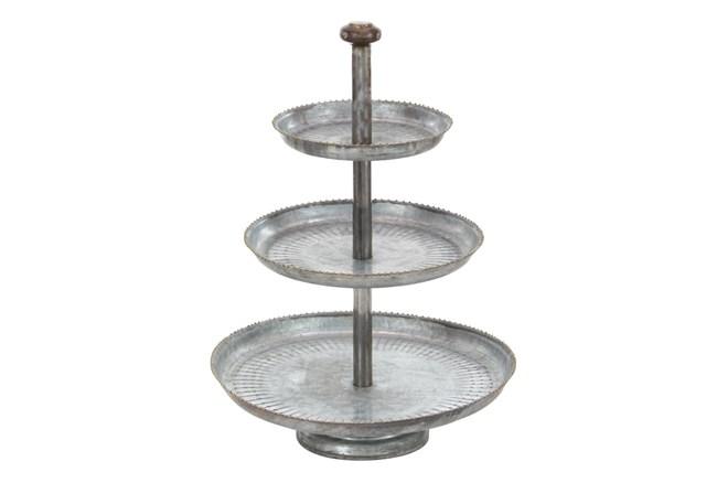 Grey 22 Inch Galvanized 3 Tier Cake Stand - 360