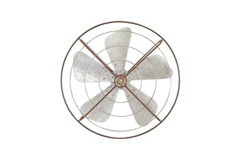 Grey 32 Inch Metal Fan Wall Decor