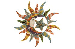Multi 25 Inch Metal Sun Wall Decor