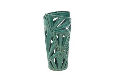 Green 16 Inch Ceramic Pierced Leaf Vase