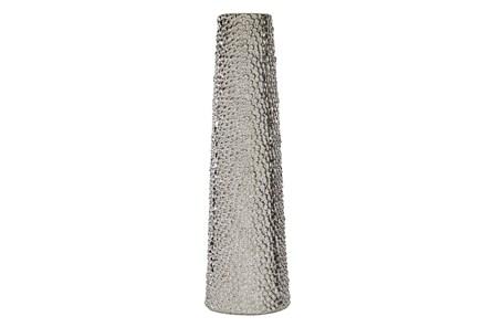 Silver 26 Inch Ceramic Beaded Vase - Main