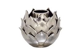 Silver 8 Inch Ceramic Silver Vase