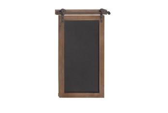 Brown 28 Inch Wood Metal Chalkboard Wall Decor