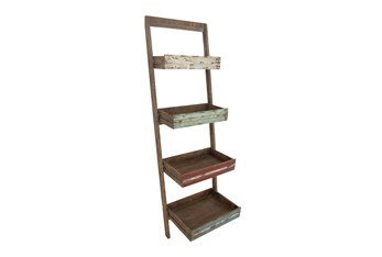 Brown 70 Inch Wood Leaning Shelf