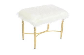 Gold 20 Inch Metal Faux Fur Stool