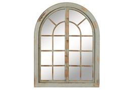 37x48 Grey Wood Arched Door Wall Mirror