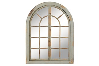 37x48 Grey Wood Arched Door Wall Mirror