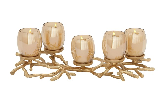 Gold 6 Inch Aluminum Glass Candle Holder - 360