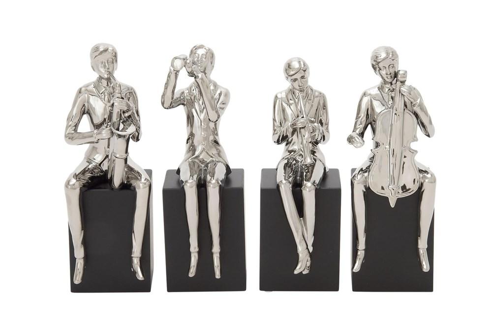 Silver 14 Inch Ceramic Wood Musician Sculpture Set Of 4