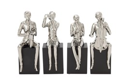 Silver 14 Inch Ceramic Wood Musician Sculpture Set Of 4
