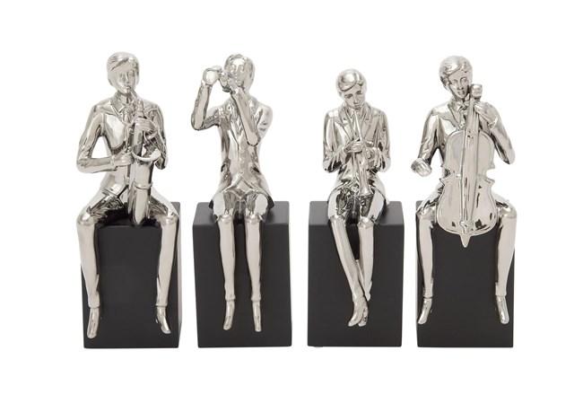 Silver 14 Inch Ceramic Wood Musician Sculpture Set Of 4 - 360