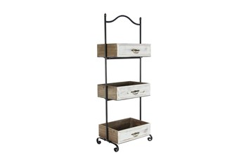 White 49 Inch Metal Wood 3 Tier Tray Stand