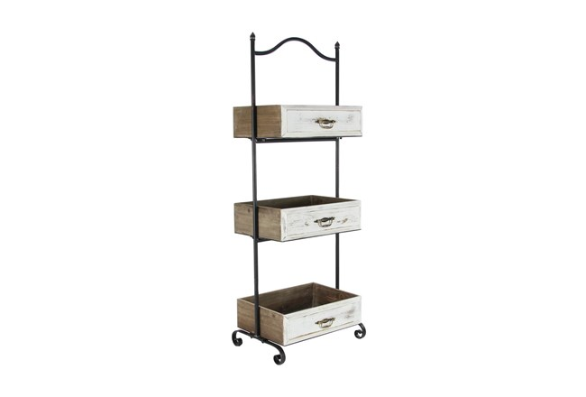 White 49 Inch Metal Wood 3 Tier Tray Stand  - 360