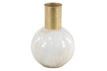 White 14 Inch Metal Vase