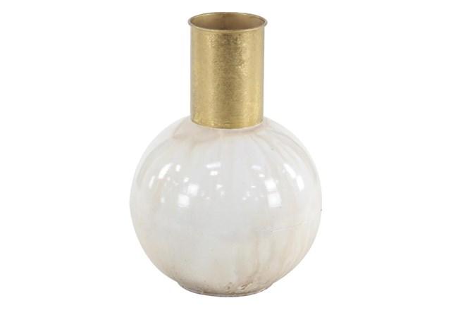 White 14 Inch Metal Vase - 360