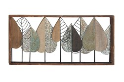 Multi 22 Inch Metal Wood Leaf Wall Decor