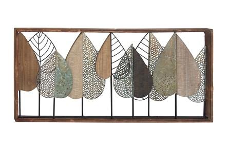 Multi 22 Inch Metal Wood Leaf Wall Decor - Main