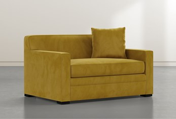 "Ethan IV Velvet Yellow Memory Foam 54"" Chairbed Sleeper"