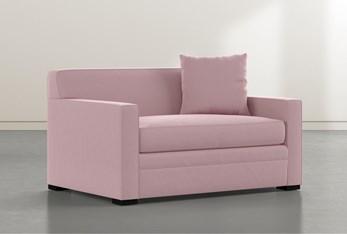 """Ethan IV Velvet Pink Memory Foam 54"""" Chairbed Sleeper"""