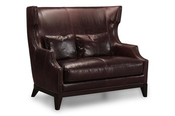 "Chocolate Leather High Back 57"" Loveseat"