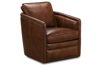 Honey Brown Leather Swivel Chair