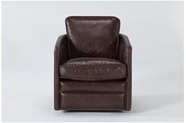 Espresso Leather Swivel Chair