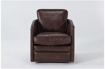 Churchill Espresso Leather Swivel Chair