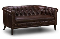 "Espresso Leather Tufted 75"" Loveseat"