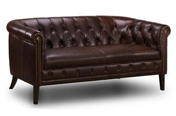 "Espresso Leather Tufted 75"" Loveseat"