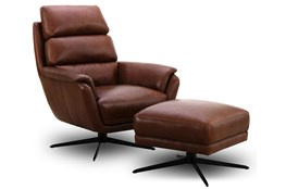 Chestnut Leather Ottoman