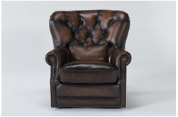 Brown Leather Tufted Swivel Chair