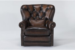 Winston Brown Leather Tufted Swivel Chair
