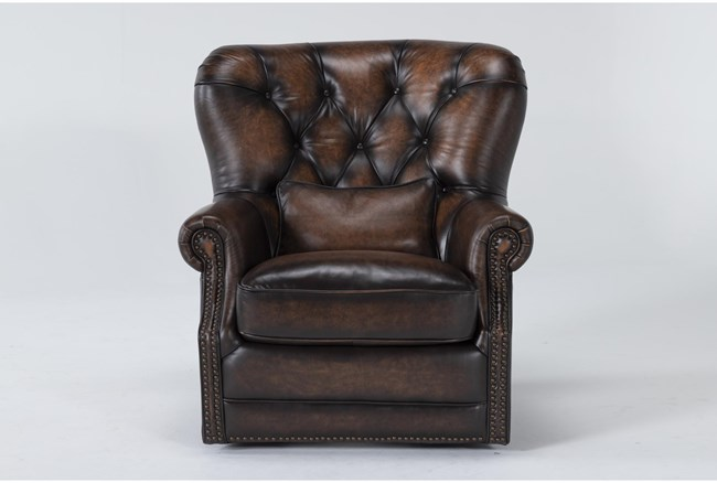 Winston Brown Leather Tufted Swivel Chair - 360