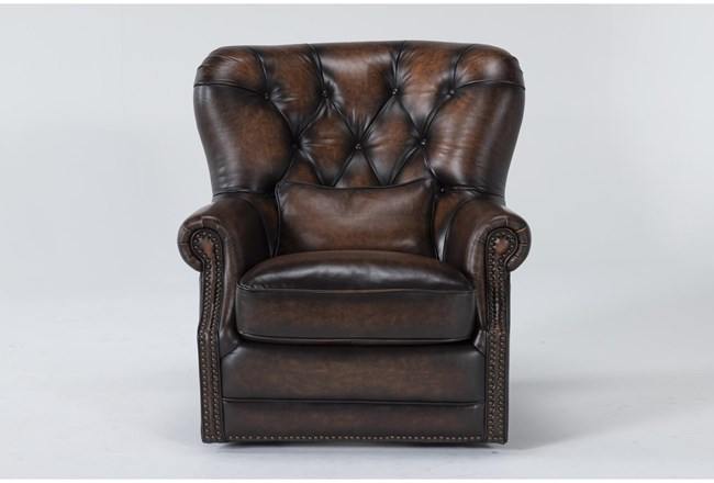 Brown Leather Tufted Swivel Chair - 360