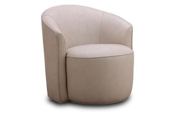 Ecru Leather Round Swivel Chair