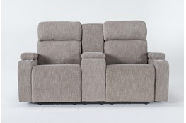 """Frazier Stone 75"""" Power Reclining Console Loveseat With Power Headrest & Wireless Charging"""