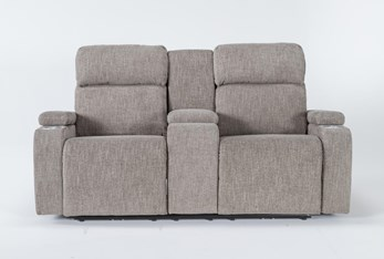 """Frazier Stone 75"""" Power Reclining Console Loveseat With Power Headrest & Storage Charging"""
