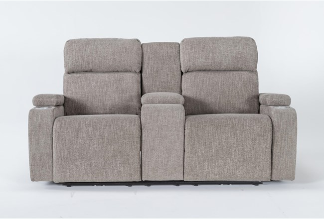 """Frazier Stone 75"""" Power Reclining Console Loveseat With Power Headrest & Storage Charging - 360"""