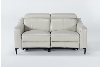 "Lorenzo Ivory 64"" Power Reclining Loveseat"