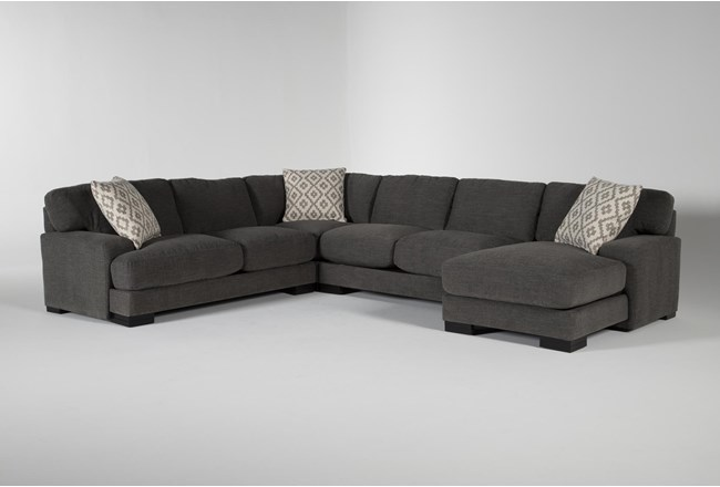 "Aidan IV 4 Piece 142"" Sectional With Right Arm Facing Chaise - 360"