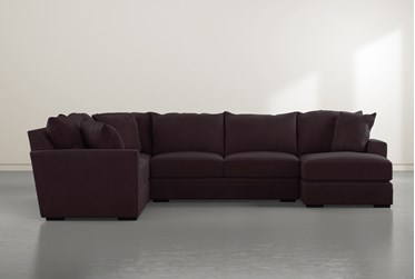 """Aidan IV Purple4 Piece 142"""" Sectional With Right Arm Facing Chaise"""