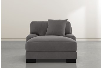Aidan IV Grey Velvet Chaise