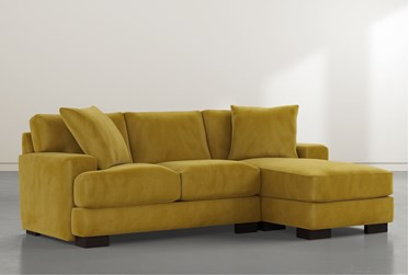 "Aidan IV Yellow Velvet Reversible 95"" Sofa/Chaise"