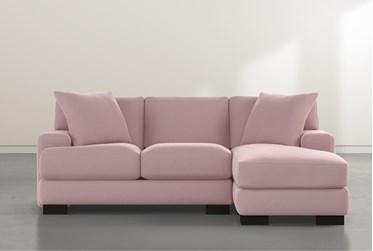 """Aidan IV Pink Velvet Reversible 95"""" Sofa/Chaise"""