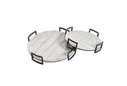 Ml Gray Round Wood Trays Set Of 2