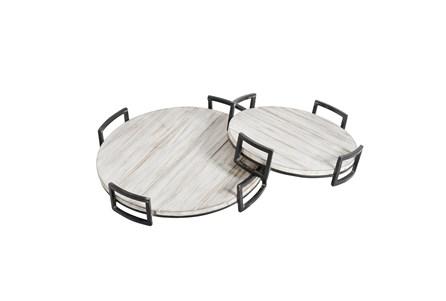 Ml Gray Round Wood Trays Set Of 2 - Main