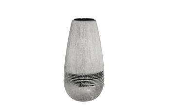 Ml 12 Inch 2 Tone Matte And Chrome Vase