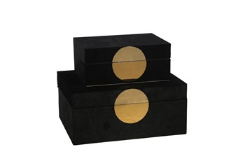 Ml Black And Gold Velvet Box Set Of 2